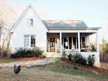 A modern farmhouse with a front porch