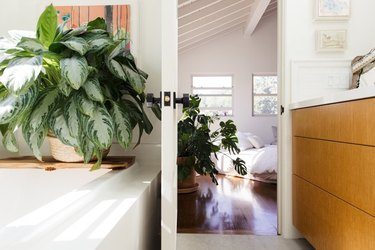 bathroom decor idea with greenery and wood vanity cabinet with white countertop
