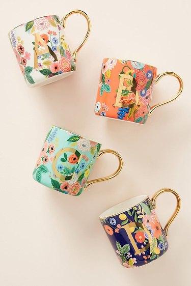 monogram mugs in floral patterns