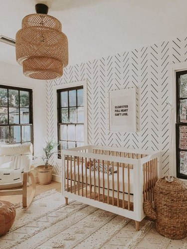black and white modern nursery idea with statement wallpaper