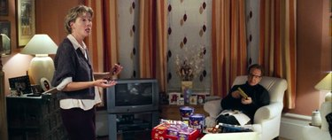karen and harry talking at home, still frame from love actually