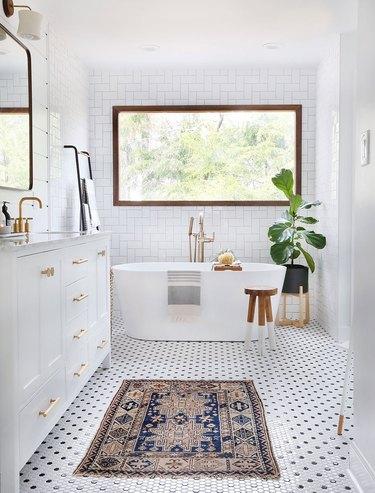 black and white hexagon shaped mosaic bathroom tile