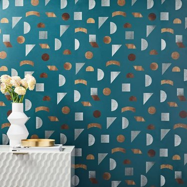 Faux tile-style midcentury modern wallpaper with geometric shapes