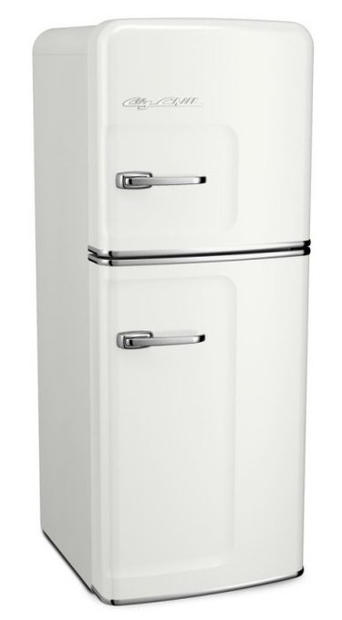 Narrow white retro fridge with chrome accents
