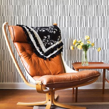 Black and white midcentury modern wallpaper with linear designs