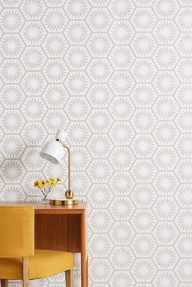 Atomic midcentury modern wallpaper with starbursts