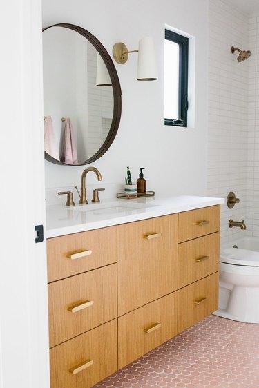 pink round mosaic bathroom floor tile