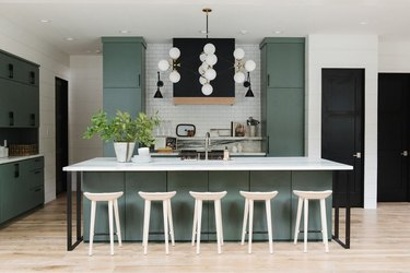 modern kitchen cabinet idea in the color green with large island