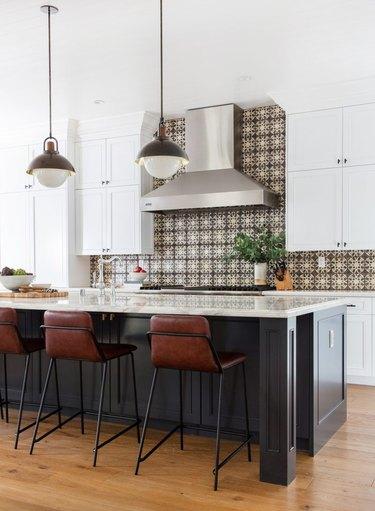 large kitchen with pattern tile backsplash