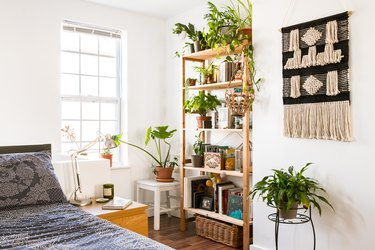 bohemian bedroom idea with potted plants on wooden bookcase and fiber wall hanging