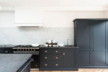 Gray cabinetry and countertops