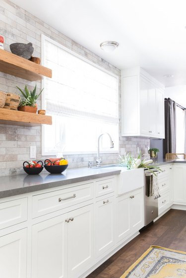 Stone bricks above a gray counter