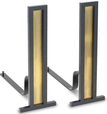two-tone finish iron fireplace andirons