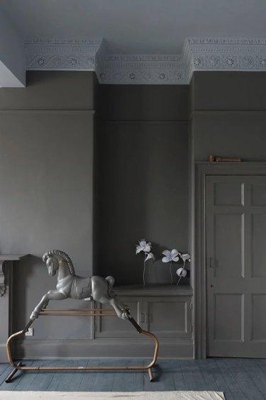 Farrow & Ball mole's breath paint color, still image of room
