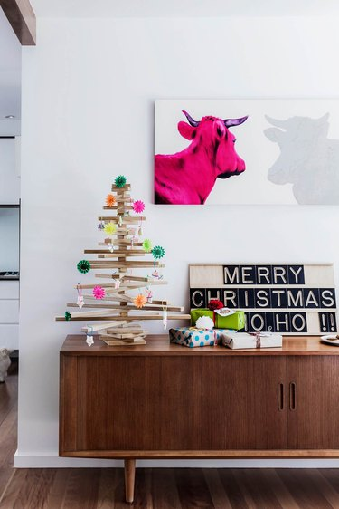 midcentury modern Christmas tree on console table made out of wood
