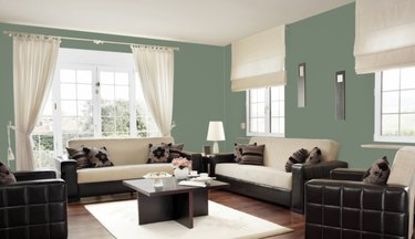 sherwin-williams privilege green paint color, still image of family room
