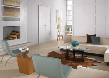 behr so shy paint color, still image of living room
