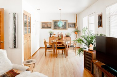 Bright dining room with wood table, plants and hardwood floors