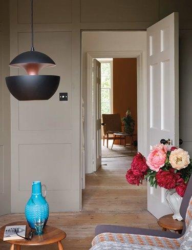 farrow & ball broccoli brown pain color, still image of home interior