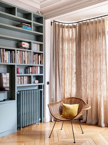 parisian Living Room with built in bookcase