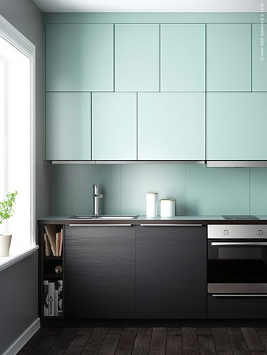 two-tone mint green kitchen
