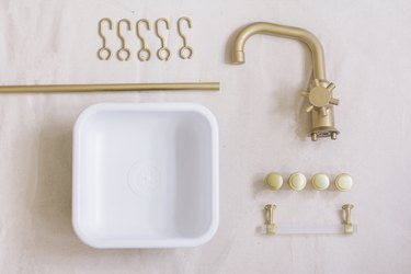 Sink, faucet and hardware spray painted