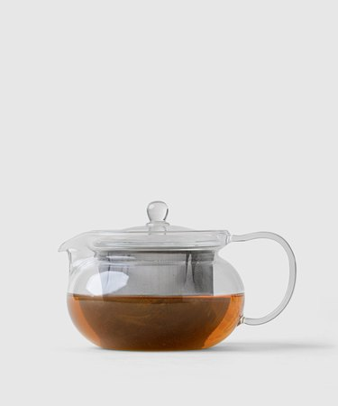 glass teapot with tea