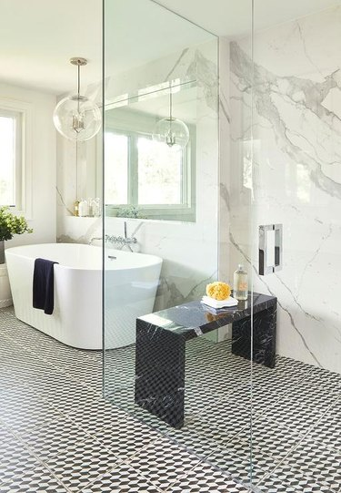 black marble shower bench