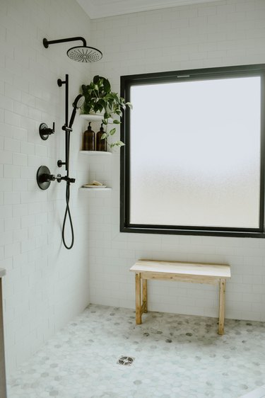 three corner shelves in shower