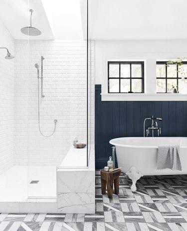 shower bench in white shower