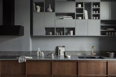 A dark oak frame kitchen