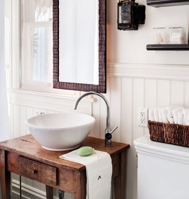 What's old is new again with bead-board and a reworked vintage vanity.