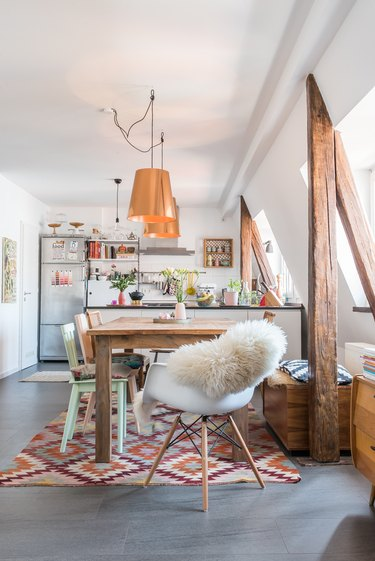 Homely bohemian open-plan dining room