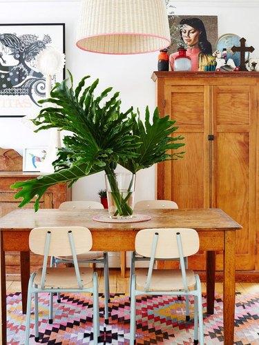 Global traveller inspired dining room