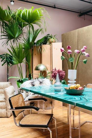 Retro dining area with malachite table
