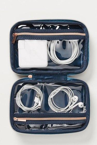 Blue velvet tech case for cords