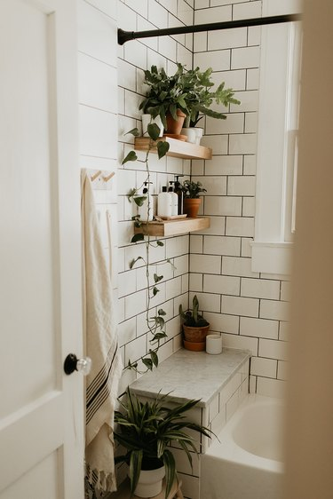 wood shower shelves