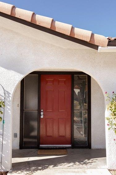 red front door seen on exterior of house
