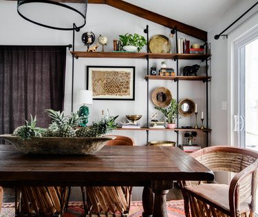 bohemian dining room with Mexican Equipale chairs