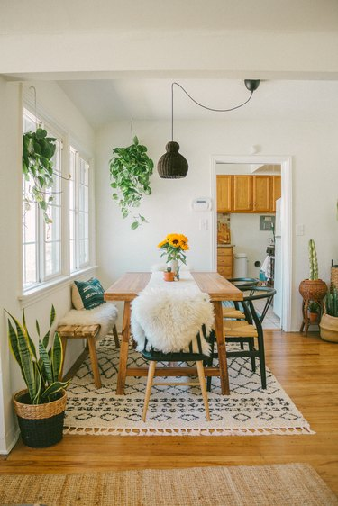 Bohemian dining room with neutral colour palette