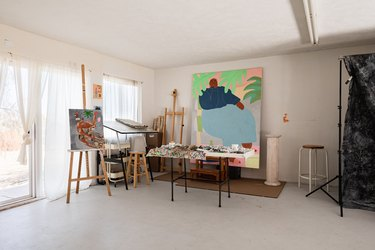 artist studio with canvases