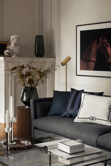 luxe-looking living room with marble decor accents