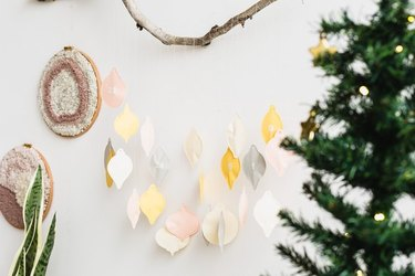 DIY paper advent calendar hanging on wall