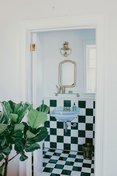 small bathroom with checkerboard tile