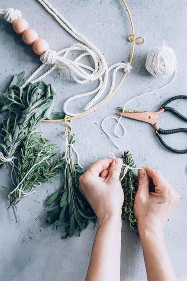 Herb bundles for DIY Herb Drying Rack