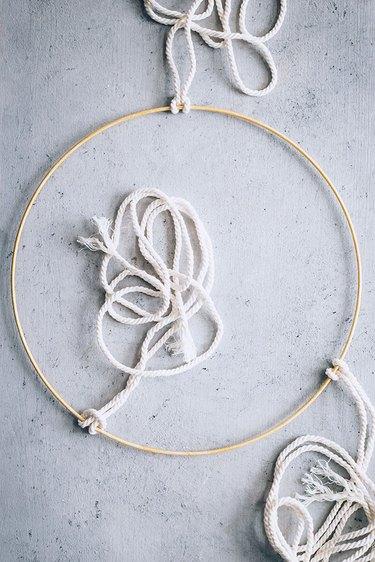 Macrame cord on Herb Drying Rack