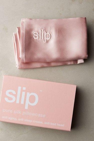 Light pink silk pillowcase