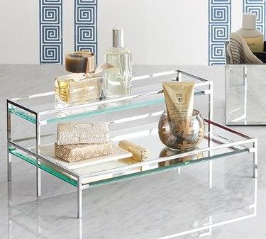 Pottery Barn Mirrored Tiered Tray bathroom countertop storage
