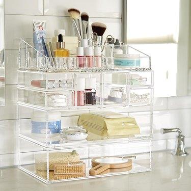 Container Store Acrylic bathroom countertop storage