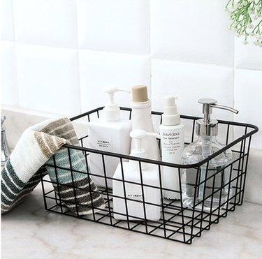Metal Storage Basket for bathroom countertop storage